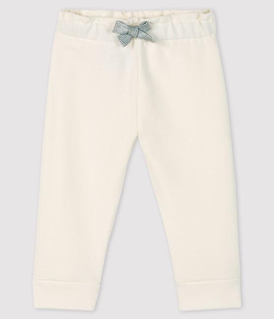 Legging bébé fille en molleton blanc Marshmallow