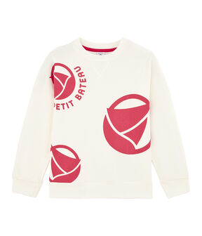 Sweat shirt enfant fille - garçon blanc Marshmallow / rose Geisha