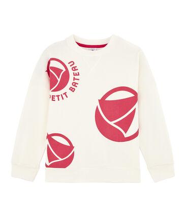 Sweat shirt enfant fille - garçon blanc Marshmallow / rose Geisha