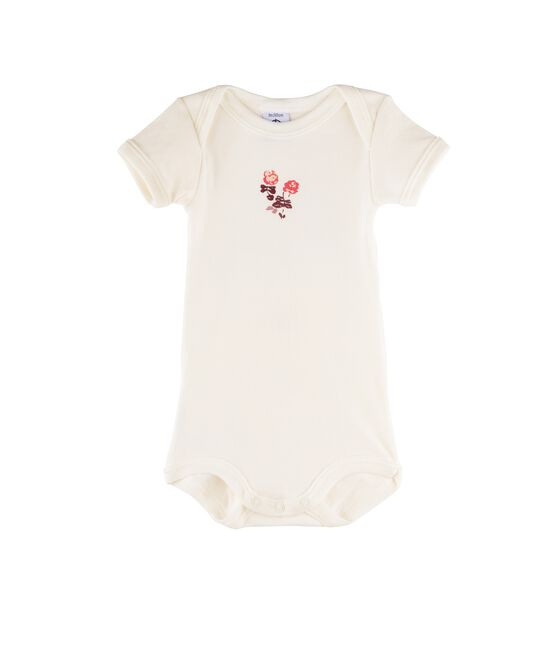 Body manches courtes bébé fille blanc Marshmallow / rose Flashy
