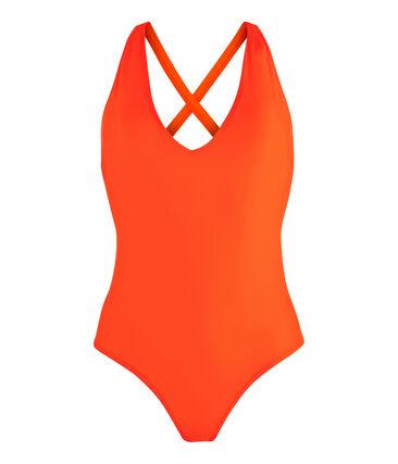 Maillot de bain 1 pièce écoresponsable femme orange Tiger