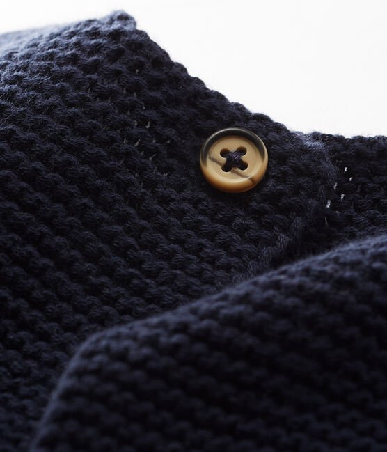 Cardigan bébé en tricot 100% coton bleu Smoking