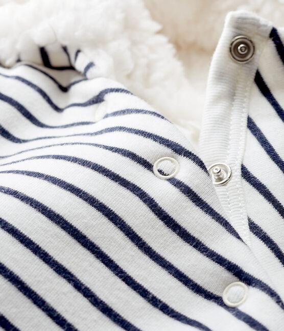 Combinaison longue bébé en côte ouatinée blanc Marshmallow / bleu Smoking