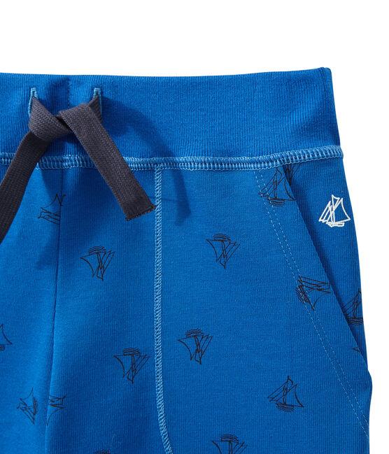 Bermuda garçon en jersey lourd imprimé bleu Perse / bleu Smoking