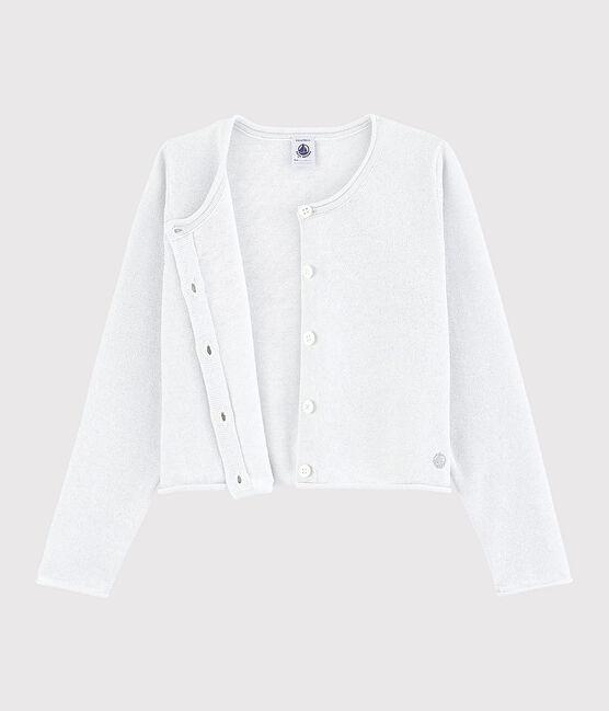 Cardigan en coton enfant fille blanc Marshmallow / gris Argent