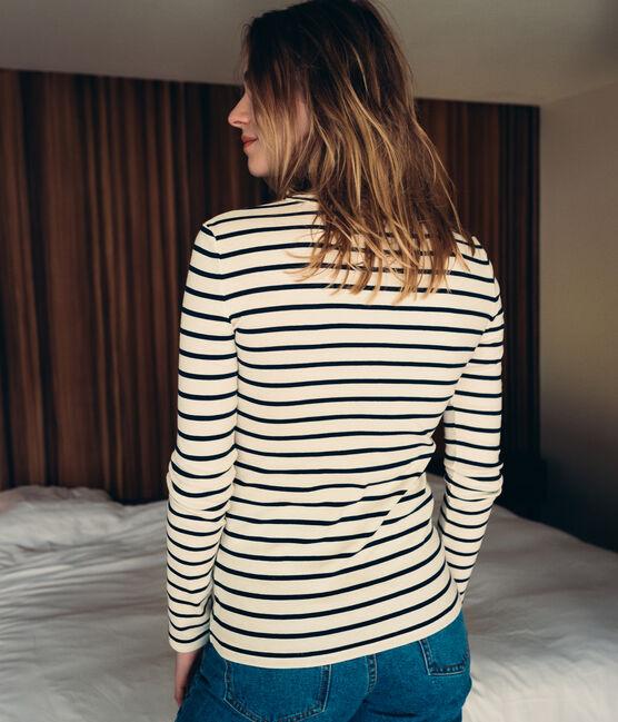 Tee shirt rayé femme manches longues bleu Smoking / blanc Marshmallow