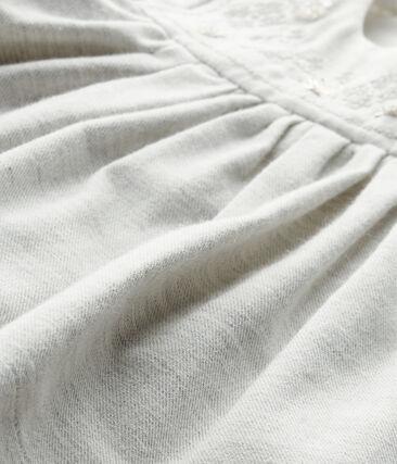 Robe bébé fille en twill brodé et bloomer gris Gris Chine