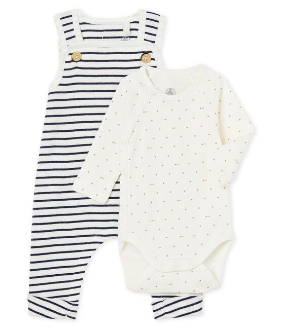 Ensemble deux pièces bébé garçon en côte blanc Marshmallow / bleu Smoking