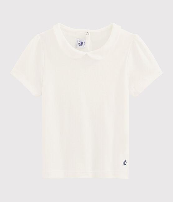 Tee-shirt col claudine enfant fille blanc Marshmallow