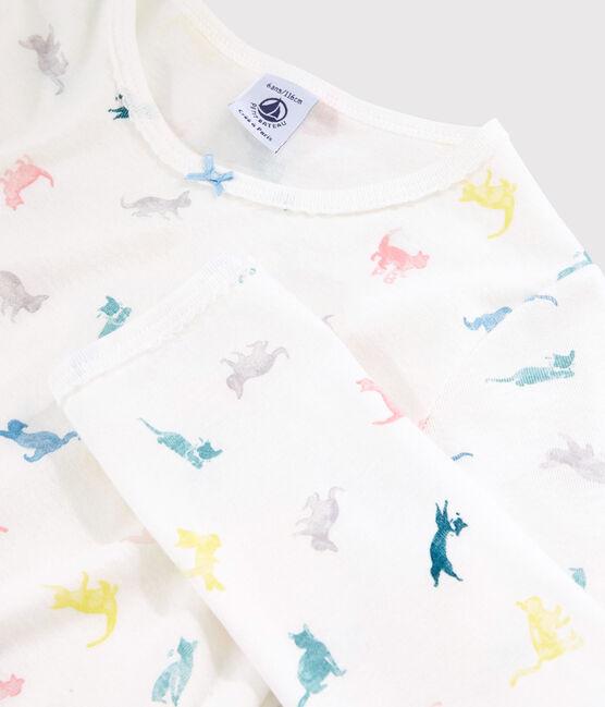 Pyjama imprimé chats petite fille en coton blanc Marshmallow / blanc Multico