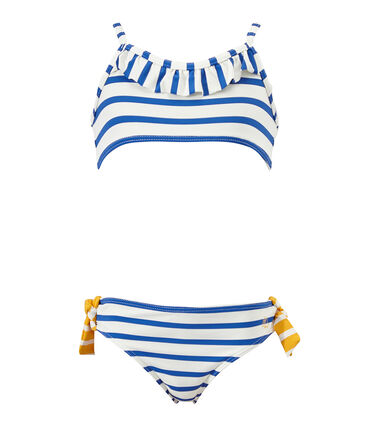 Maillot de bain fille 2 pièces blanc Marshmallow / bleu Perse