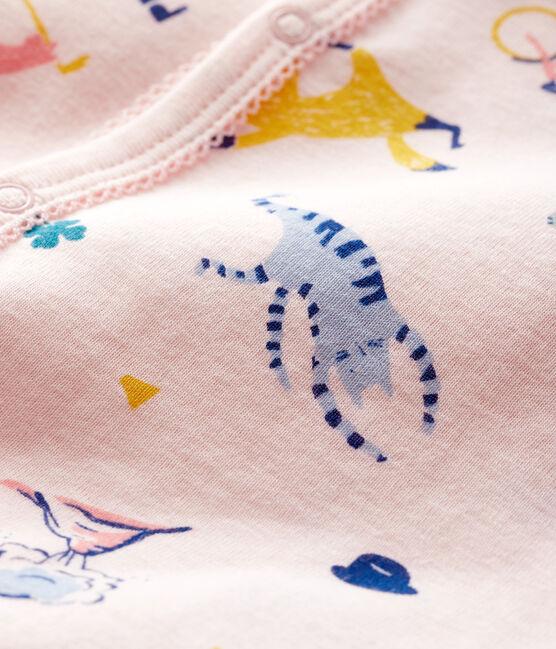 Dors-bien sans pieds bébé fille en côte rose Fleur / blanc Multico