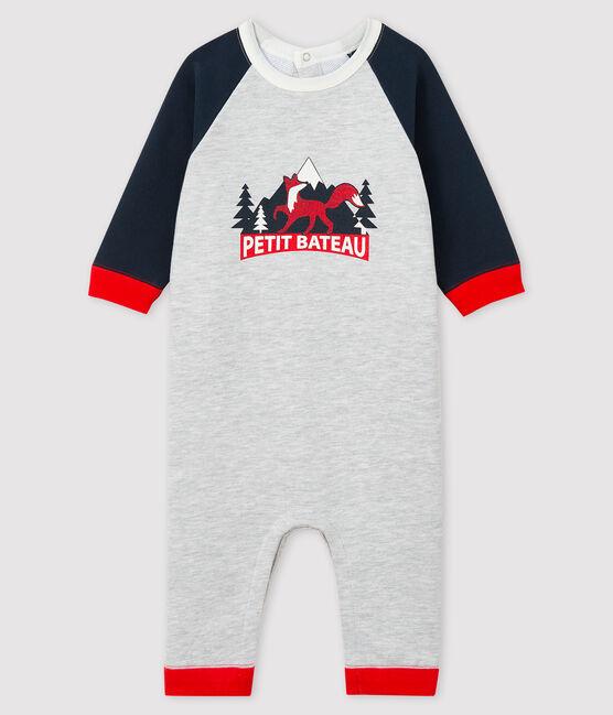 Combinaison longue bébé garçon gris Beluga / bleu Smoking