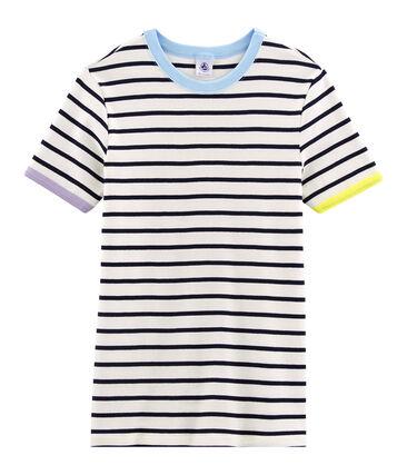 Tee shirt iconique femme blanc Marshmallow / bleu Smoking