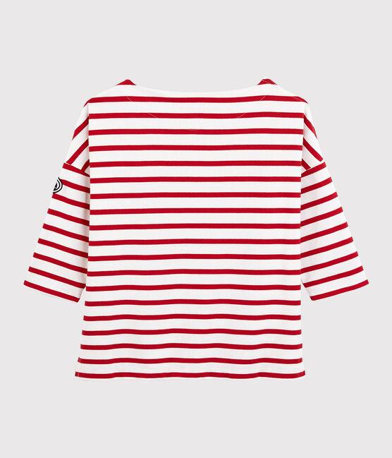 Marinière volantée Femme blanc Marshmallow / rouge Terkuit