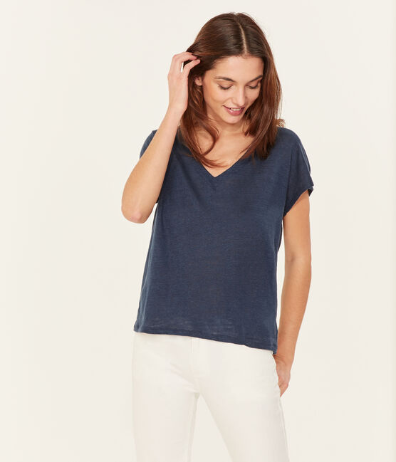 Tee-shirt manches courtes femme en lin bleu Haddock