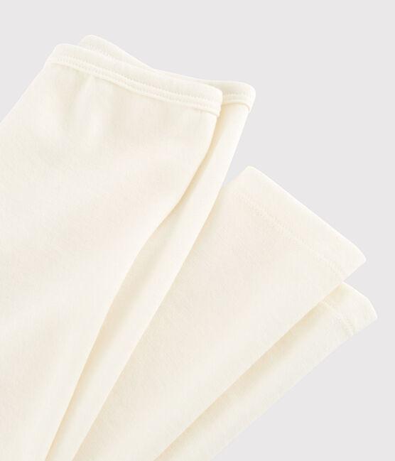 Legging enfant uni en laine et coton beige Ecru