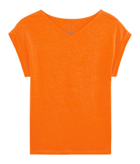 Tee shirt lin femme orange Tiger
