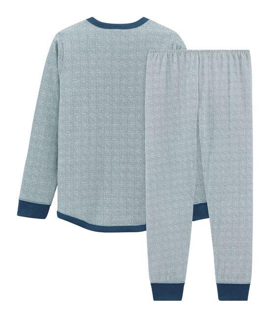 Pyjama petit garçon en tubique blanc Marshmallow / bleu Shadow