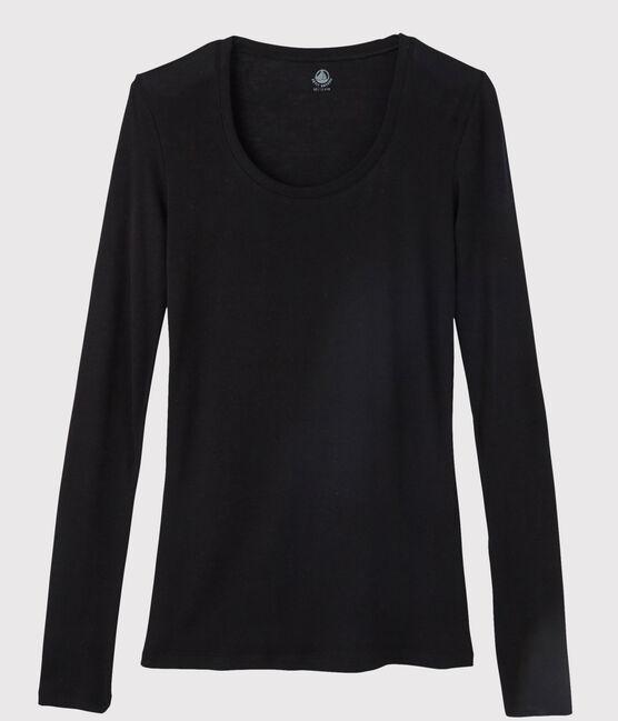 T-shirt léger côte légère Femme noir Noir
