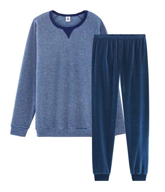 Pyjama garçon bi-matière bleu Major / gris Subway