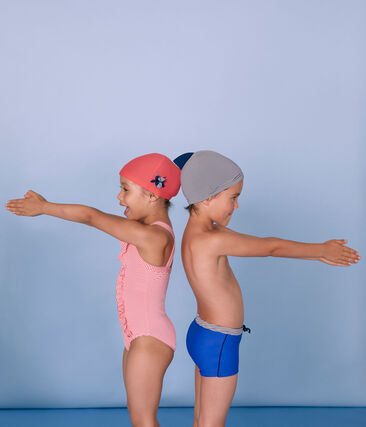 Bonnet de bain enfant garçon bleu Abysse / blanc Lait