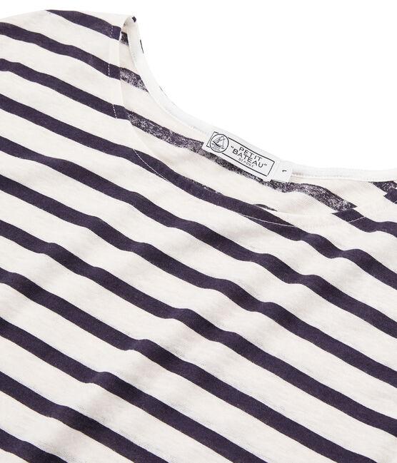 Tee shirt lin femme blanc Marshmallow / bleu Medieval