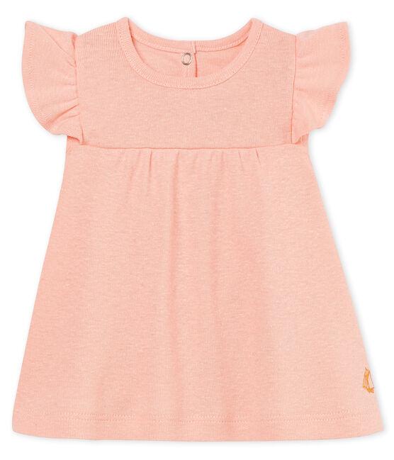 Blouse manches courtes bébé fille en coton/lin rose Rosako