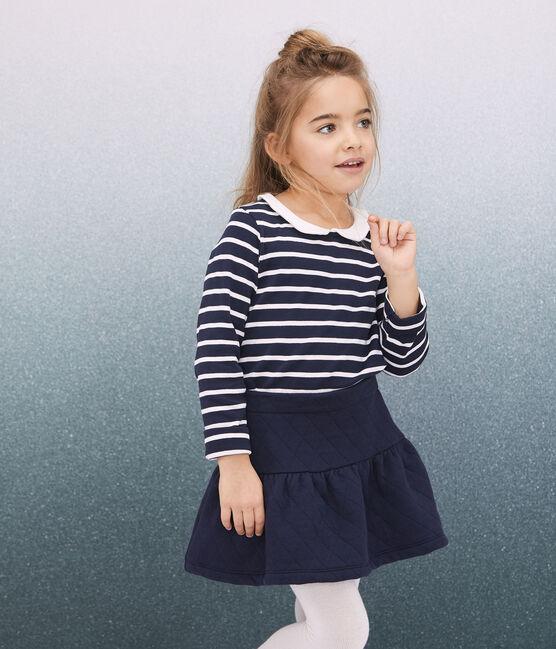 Tee-shirt col claudine enfant fille bleu Smoking / blanc Marshmallow