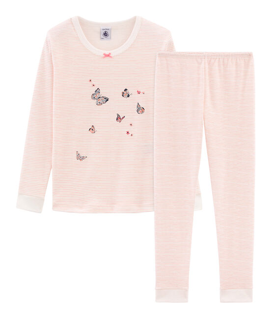 Pyjama petite fille coupe très ajustée en côte blanc Marshmallow / rose Rosako