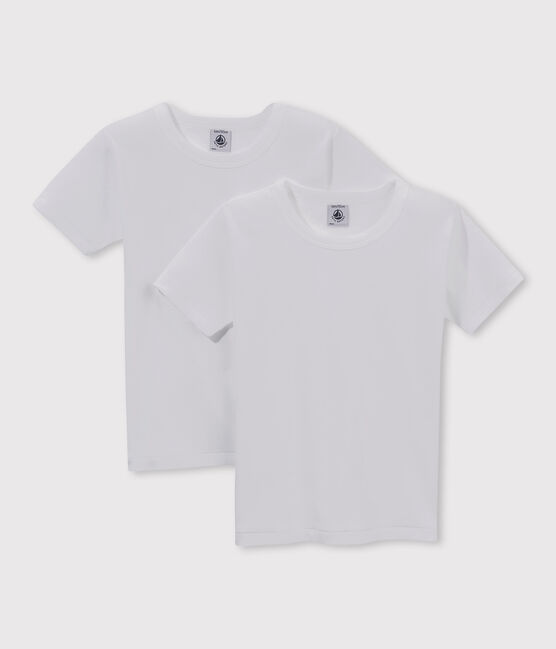 Lot de 2 tee-shirts manches courtes blancs garçon lot .