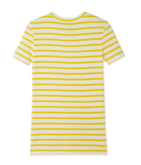 T-shirt femme en côte originale rayée jaune Shine / blanc Marshmallow