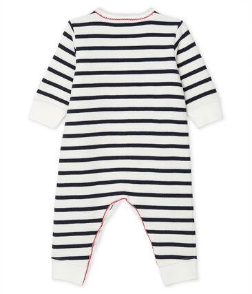 Dors bien bébé en molleton blanc Marshmallow / bleu Smoking