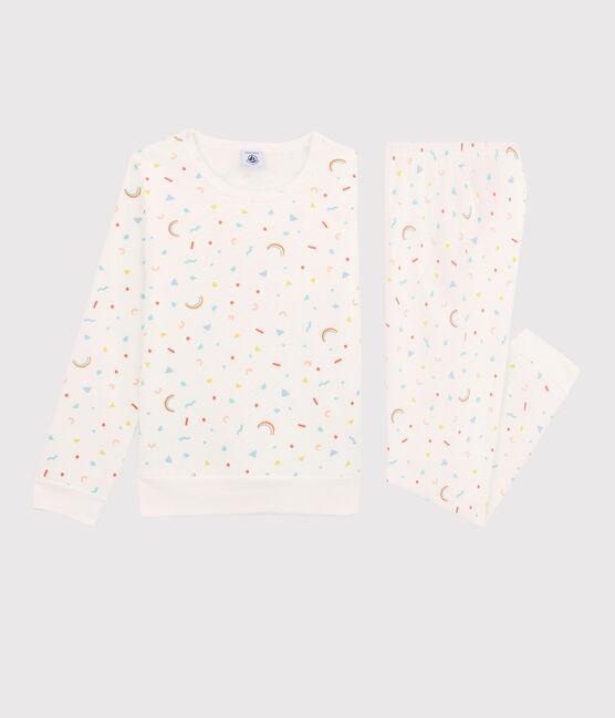 Pyjama à imprimé confettis petite fille en molleton blanc Marshmallow / blanc Multico
