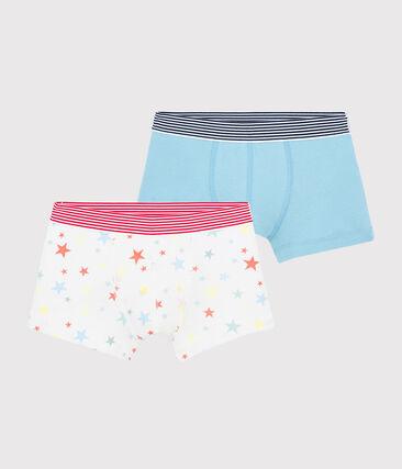 Lot de 2 boxers étoiles multico petit garçon en coton biologique