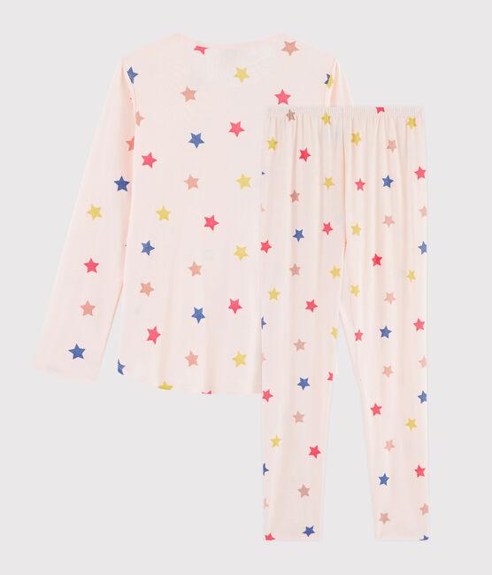 Pyjama fille /femme imprimé étoiles en côte rose Fleur / blanc Multico