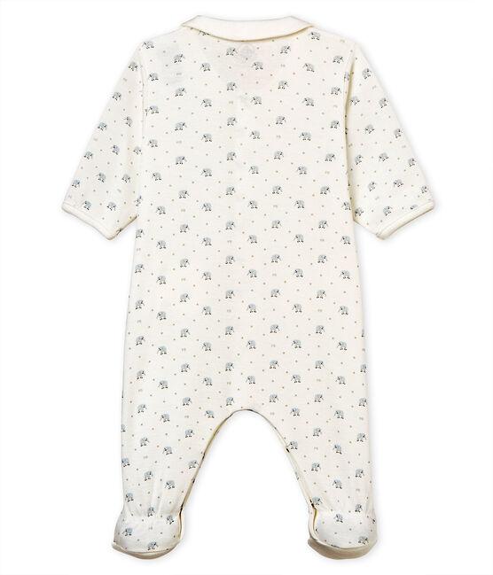 Dors-bien bébé garçon en côte 1x1 imprimée blanc Marshmallow / blanc Multico
