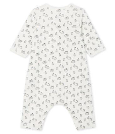 Dors-bien sans pieds bébé en côte blanc Marshmallow / bleu Toudou