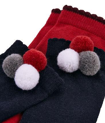 Lot de 2 paires de chaussettes pompon et uni