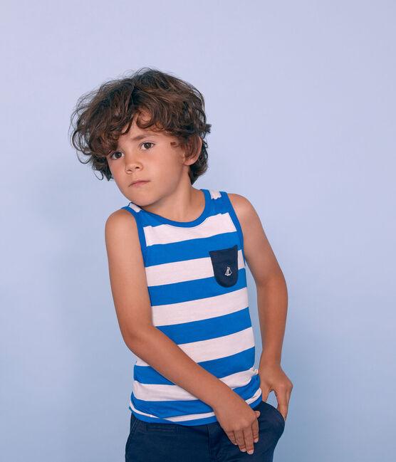 Débardeur enfant garçon bleu Riyadh / blanc Marshmallow