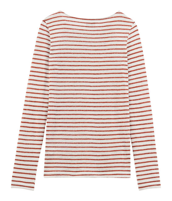 Tee-shirt manches longues femme en lin blanc Marshmallow / rose Copper