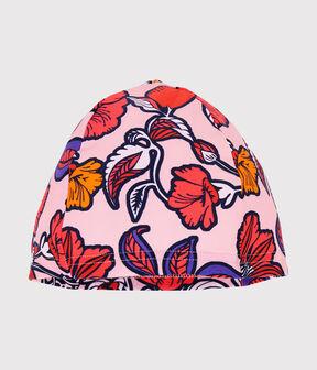 Bonnet de bain anti-UV UPF 50+ enfant fille rose Patience / blanc Multico