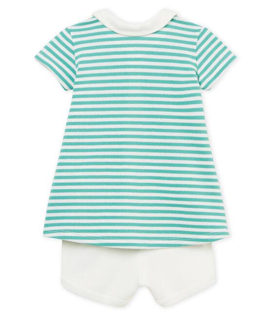 Robe polo manches courtes rayée bébé fille et short lot .