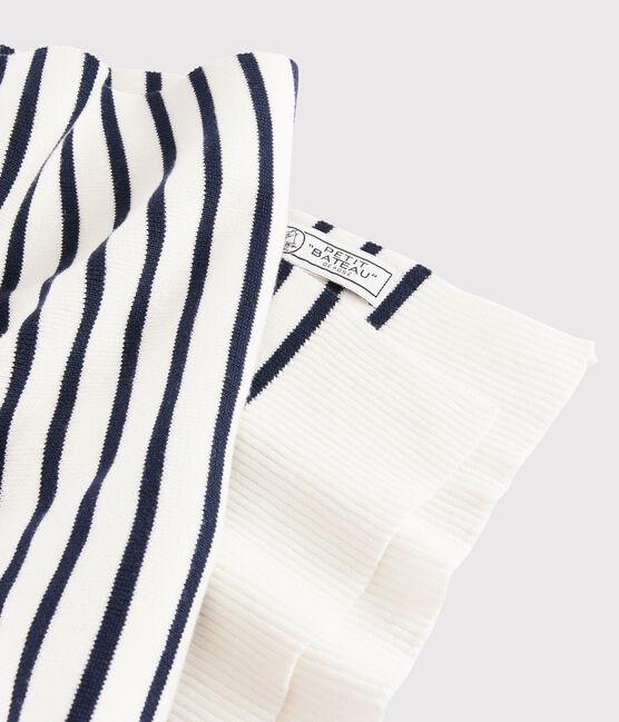 Echarpe rayée Femme/Homme blanc Marshmallow / bleu Smoking