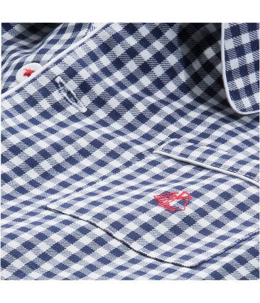Pyjama petit garçon en twill bleu Medieval / blanc Lait