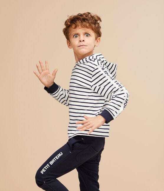 Tee-shirt à capuche enfant garçon blanc Marshmallow / bleu Smoking