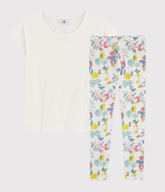 Pyjama fille / femme imprimé jungle en côte blanc Marshmallow / blanc Multico