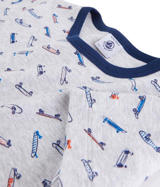 Pyjama skates petit garçon en côte gris Poussiere / blanc Multico