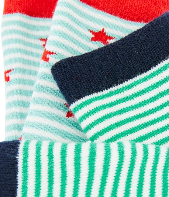 Lot de 2 paires de chaussettes enfant garçon bleu Marshmallow:smoking / blanc Marshmallo
