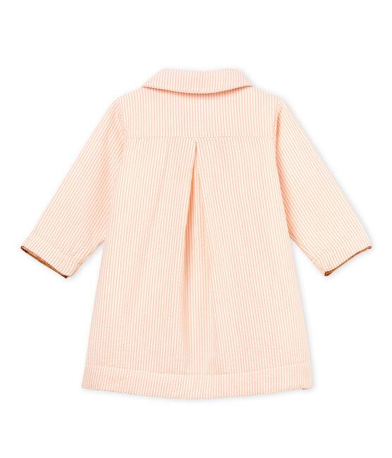 Manteau rayé bébé fille blanc Marshmallow / rose Rosako
